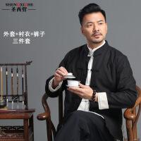 唐装汉服男古风套装棉麻中山装中国风青年外套古装秋冬男士居士服
