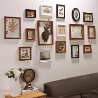 美式复古实木照片墙北欧客厅创意墙面装饰品木质相框鹿头挂墙组合 小鹿头+黑白咖相框 含13寸长框