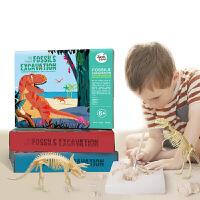 儿童化石挖掘恐龙考古 三角龙骨架手工DIY化石玩具模型