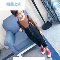 女童背带裤春装套装2018新款儿童装运动中大童春秋韩版两件套潮衣