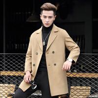 羊毛呢大衣外套中长款双面呢子大衣男士双排扣羊绒大衣男