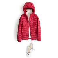 修身显瘦大码款2016新款韩版女士女式轻薄羽绒服女短款潮装 红色 带帽款