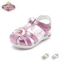 迪士尼Disney童鞋18新款婴童宝宝鞋苏菲亚公主幼童学步鞋撞色时尚灯鞋步前凉鞋(0-4岁可选)K00286