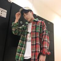 日系港风宽松长袖格子衬衫男春季休闲韩版潮流学生拼色衬衣外套