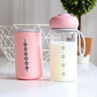 宝宝喝奶杯 抖音网红水杯玻璃杯儿童牛奶杯带刻度玻璃量杯女喝奶粉杯便携