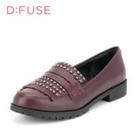 【189元2双】迪芙斯(D:FUSE)女鞋 秋季小牛皮革圆头休闲女单鞋 DF63111019