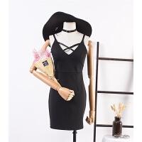 【满】20 韩版新款秋季纯色无袖后拉链显瘦连衣裙
