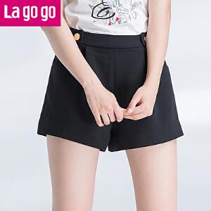 【每满200减100】Lagogo2017夏季新款百搭直筒高腰黑色短裤女休闲热裤短款阔腿裤