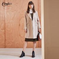 【满399减80】呢子大衣女冬季新款韩版宽松简约外衣风衣西装领中长毛呢外套