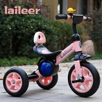 儿童三轮车脚踏车1-3-5岁宝宝婴儿手推车轻便小童车自行车 粉红色 发泡轮音乐款粉色