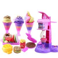 橡皮泥模具工具套装儿童模具3D彩泥冰淇淋雪糕机玩具泥巴粘土 豪华快餐44件套(10彩泥)