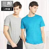 三��男T恤水柔棉�A�I打底短袖��松棉�|男士汗衫[2件�b]