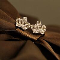 耳钉女 时尚气质钻石耳钉 韩版复古皇冠女士耳环耳饰 优雅白色 (银针)