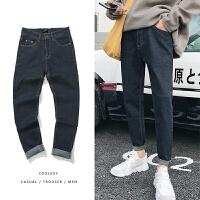 韩版冬季牛仔裤男士直筒修身男裤青年加厚长裤裤子潮