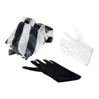 魔术手套变斜条长绸巾 盒装 魔术道具 黑白手套变丝巾