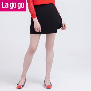 Lagogo2016秋季新款短裙女秋装半身裙秋冬百搭不规则a字裙黑色