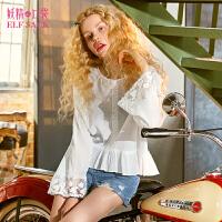 【限时直降:99】妖精的口袋裙摆小衫新款甜美宽松收腰气质洋气白色短款chic上衣女