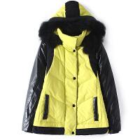 女装冬装新款韩版PU拼接双色撞色真毛领连帽双口袋保暖百搭羽绒服
