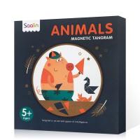 英文原版 saalin莎林磁性益智七巧板 ANIMALS动物 单色 磁性多变七巧板 幼儿智力磁力贴学生比赛用益智拼图教