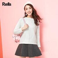白色针织衫女套头春装新款韩版学生长袖百搭宽松圆领小清新毛衣