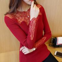 春季新品修身长袖套头毛衣秋装短款镶钻蕾丝纯色针织衫女士打底衫
