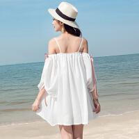 维绯 新款 白色沙滩裙海边度假露肩雪纺连衣裙波西米亚短裙子 白色