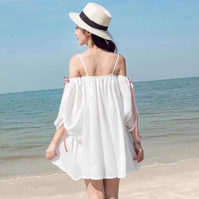 维绯 新款 白色沙滩裙海边度假露肩雪纺连衣裙波西米亚短裙子 白色 发货周期:一般在付款后2-90天左右发货,具体发货时间请以与客服协商的时间为准