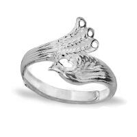 凤凰99纯银戒指 女潮人学生个性食指戒大气复古开口 刻字手工饰品 (加厚戒指)老银子 纯银色