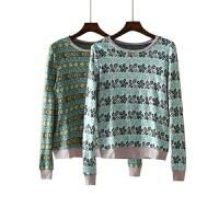 女装秋装新 韩版拼色几何图案上衣女毛衣长袖针织衫女