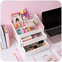 ins桌面抽屉式收纳盒化妆品办公室学生文具宿舍神器书桌置物架