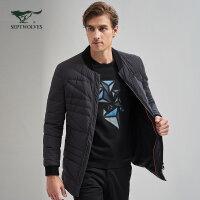七匹狼羽绒服冬季新品中青年男士时尚商务休闲立领中长装薄羽绒服