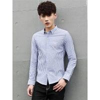 男士长袖衬衫个性潮男修身韩版休闲帅气纯棉条纹衬衣
