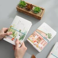 韩国绑带创意偶遇笔记本子文具小清新手帐手绘日记本彩页活页手账本