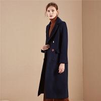 【开门红 2件2.5折到手价:315】呢子外套女士拉夏贝尔冬季新款宽松时尚流行长款羊毛毛呢大衣