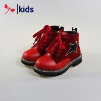 红蜻蜓童鞋女童中大童真皮冬款马丁靴短靴英伦风真皮保暖