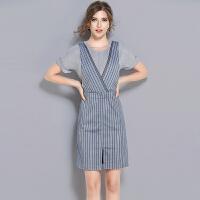 新款气质牛仔条纹背带裙假两件套连衣裙女夏韩版显瘦一步裙
