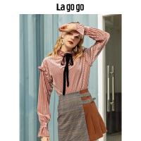 Lagogo2019秋冬新款小立领系带上衣女休闲打底衫HCSS538G89