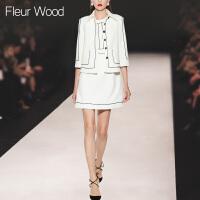FLEUR WOOD2017秋季新款女欧洲站气质无袖连衣裙修身外套两件套装