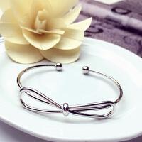 女韩版简约个性玫瑰金字母手链学生礼物情侣开口手环闺密饰品 银色