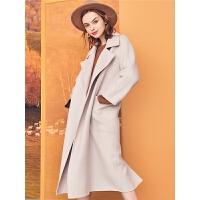 拉夏贝尔明星同款毛呢外套女中长款秋冬新款韩版长款斗篷呢子大衣冬装