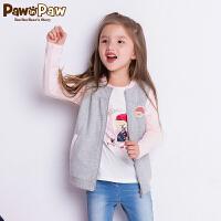 【1件4折 到手价:119】Pawinpaw卡通小熊童装秋女童撞色插肩长袖小熊印花T恤