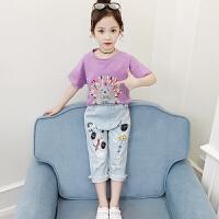 童装2020夏新款女童刺猬套装儿童短袖上衣+牛仔七分裤女孩两件套