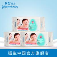 强生婴儿湿纸巾80片优惠装3连包 银耳柔护宝宝护肤无酒精3连包