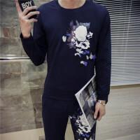 男士春秋冬季圆领套头运动服套装时尚高中学生卫衣韩版休闲裤外套