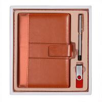商务笔记本文具礼盒三件套(皮面记事本+16Gu盘+4577签字笔)可定制LOGO