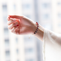 s925银石榴石手链女水晶简约气质银手镯手工转运珠手串 925银石榴石手链