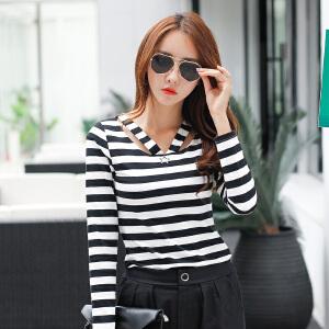 秋装新品韩版女装上衣春秋长袖体恤女条纹显瘦V领t恤打底衫潮