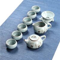 开片汝窑功夫茶具套装茶道喝茶创意泡茶简约陶瓷器家用办公室茶艺