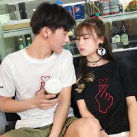情侣装短袖T恤女夏装2018新款韩版学生宽松半袖玫瑰刺绣体恤班服