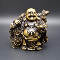 铜挑黄金布袋弥勒佛 保平安工艺品摆件铜弥勒佛摆件礼品